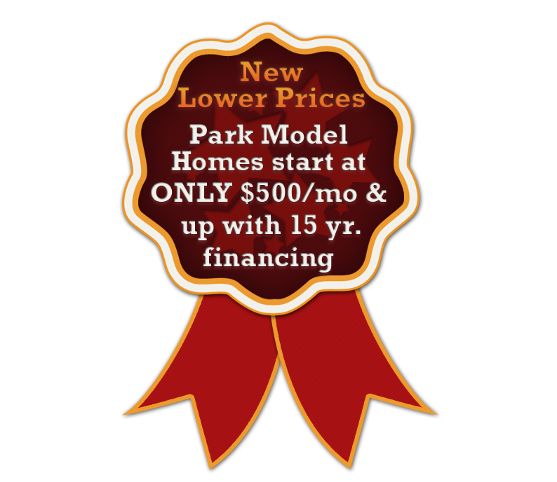 lower prices on park model homes on Indian lake at Baypoint Villas